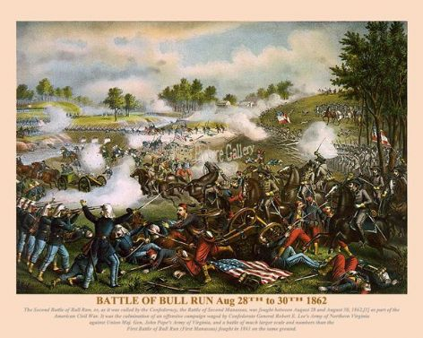 Fine art print of the American Civil War of the Battle of Bull Run (2nd) Aug 28th to 30th 1862